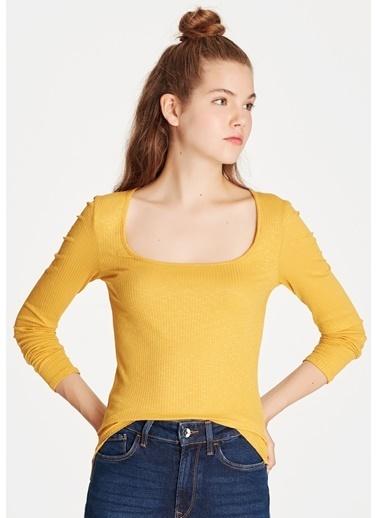Mavi Uzun Kollu Tişört Sarı